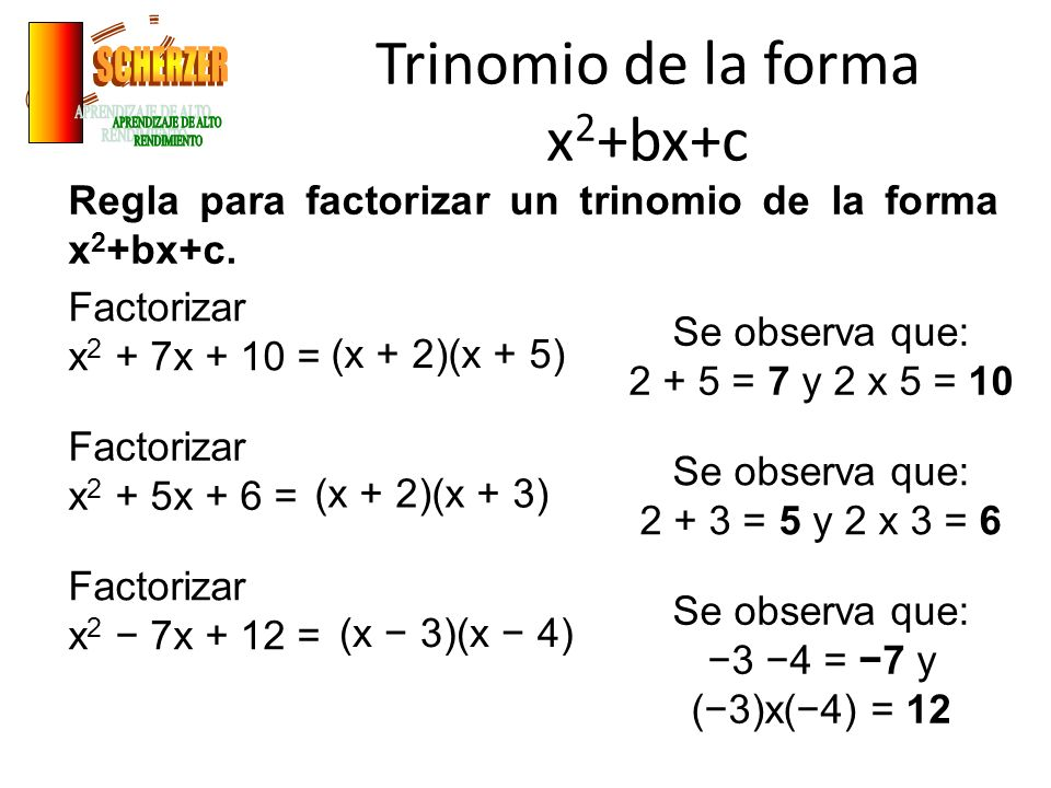 Trinomio de la forma x2+bx+c