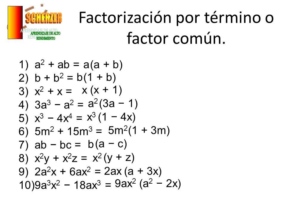 Factorización por término o factor común.