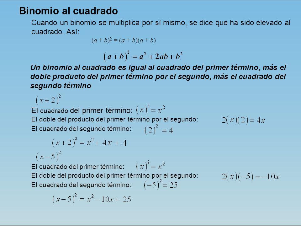 Binomio al cuadrado Cuando un binomio se multiplica por sí mismo, se dice que ha sido elevado al cuadrado. Así: