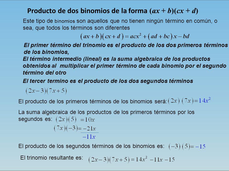 Producto de dos binomios de la forma (ax + b)(cx + d)