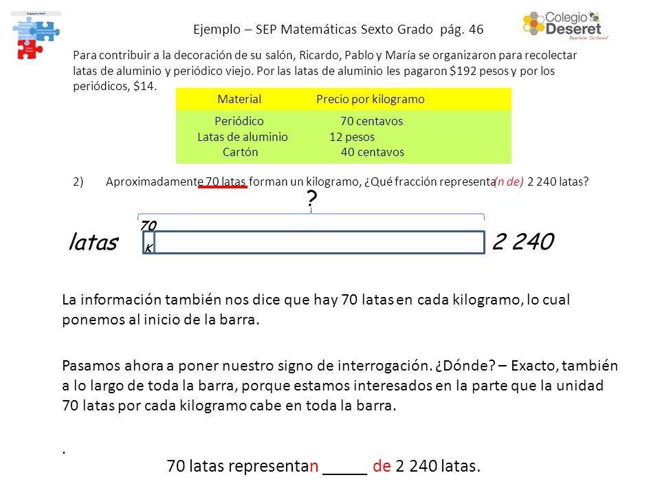 Ejemplo – SEP Matemáticas Sexto Grado pág. 46