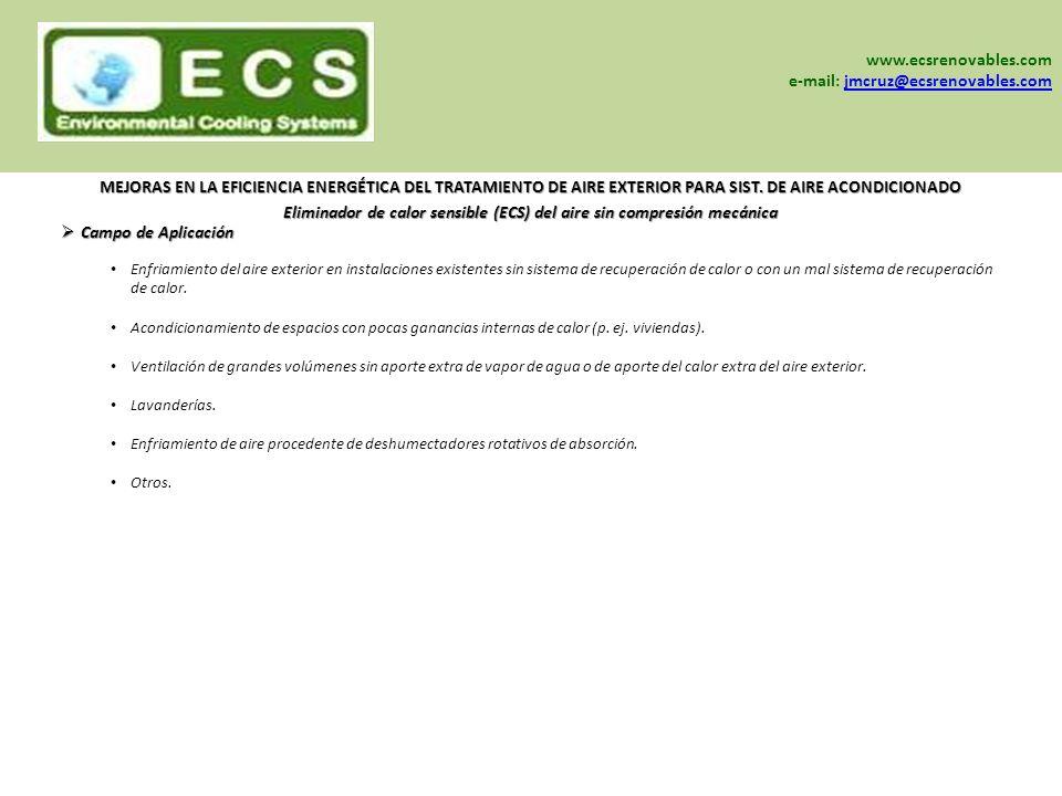 Eliminador de calor sensible (ECS) del aire sin compresión mecánica