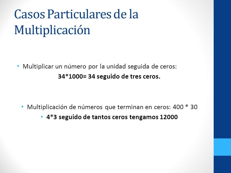 Casos Particulares de la Multiplicación