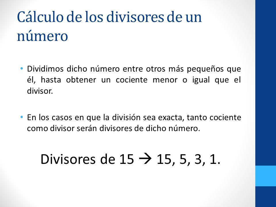 Cálculo de los divisores de un número