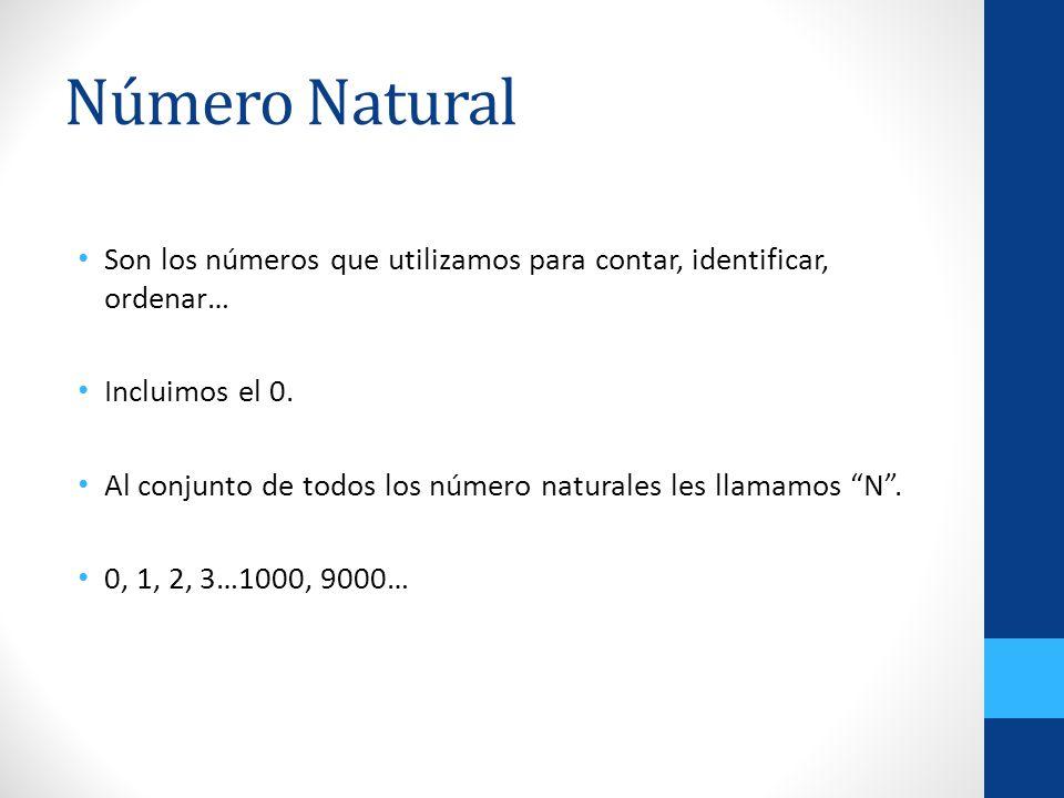 Número Natural Son los números que utilizamos para contar, identificar, ordenar… Incluimos el 0.