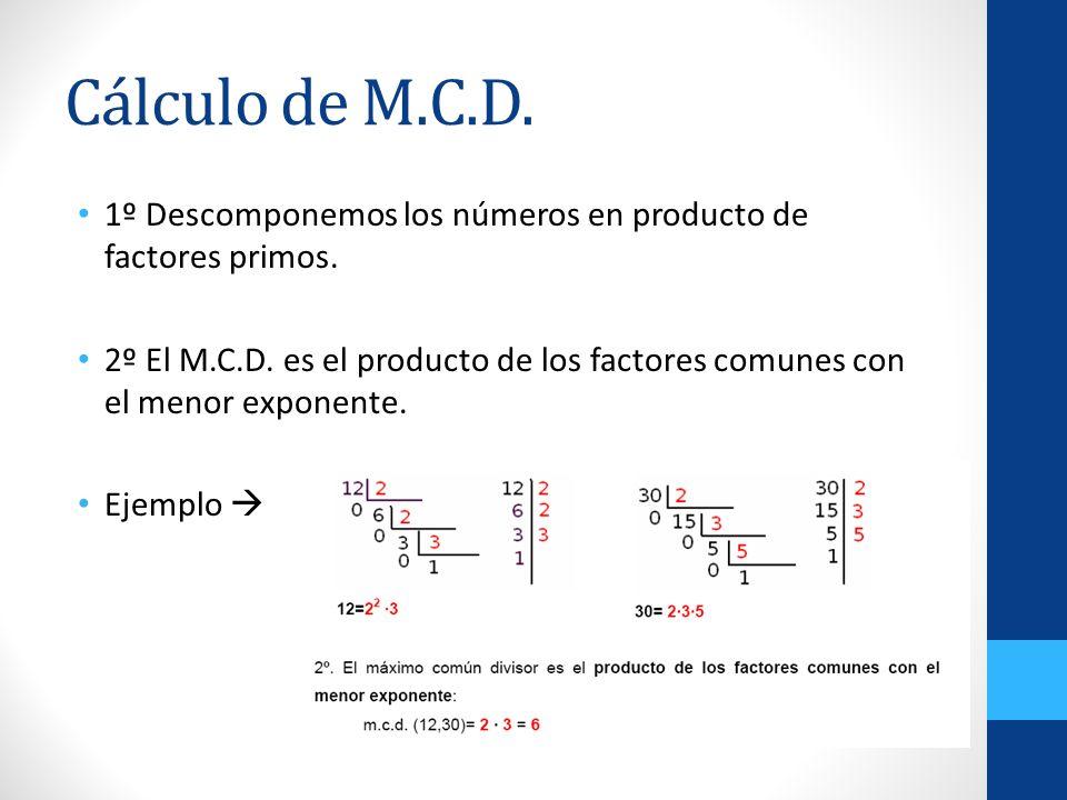 Cálculo de M.C.D. 1º Descomponemos los números en producto de factores primos.