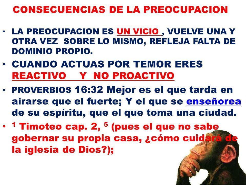 CONSECUENCIAS DE LA PREOCUPACION