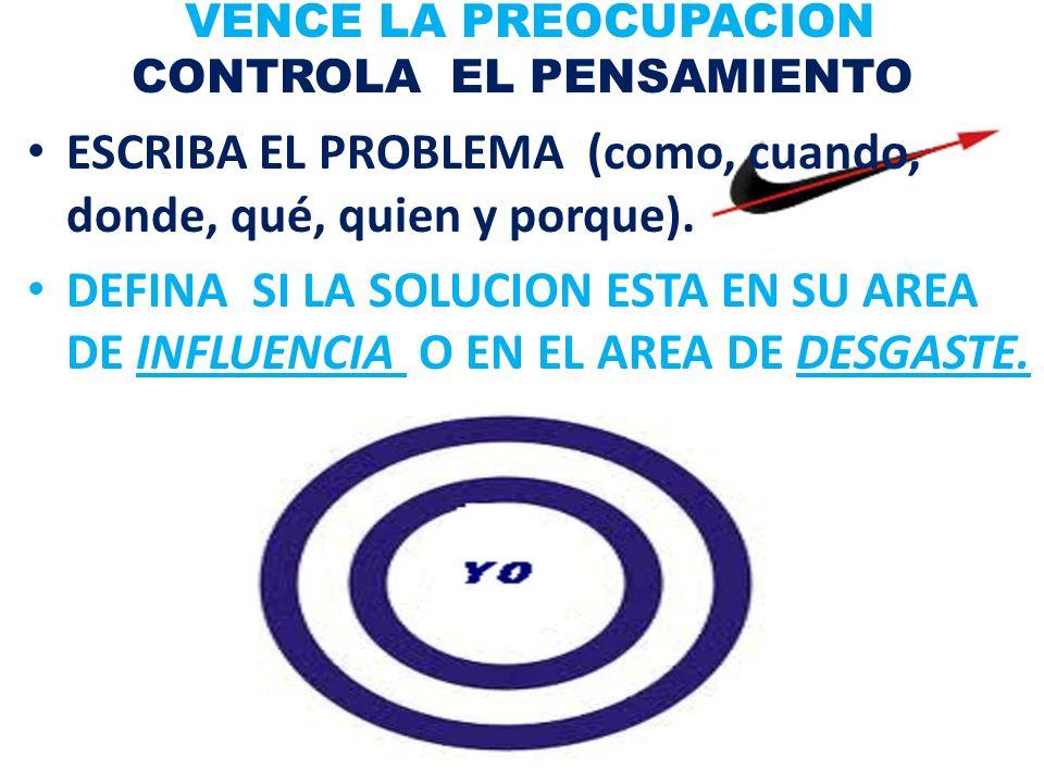 VENCE LA PREOCUPACION CONTROLA EL PENSAMIENTO