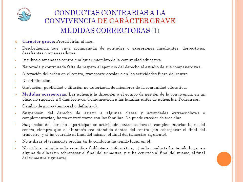 CONDUCTAS CONTRARIAS A LA CONVIVENCIA DE CARÁCTER GRAVE MEDIDAS CORRECTORAS (1)