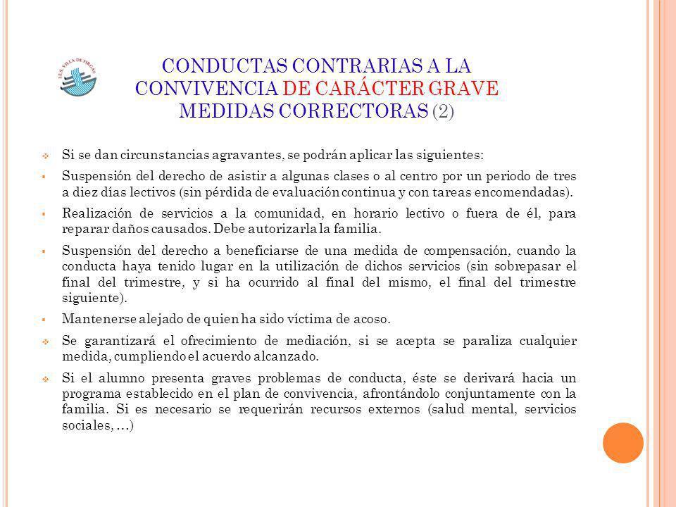 CONDUCTAS CONTRARIAS A LA CONVIVENCIA DE CARÁCTER GRAVE MEDIDAS CORRECTORAS (2)