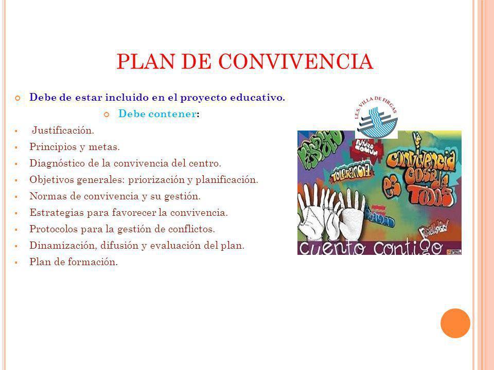 PLAN DE CONVIVENCIA Debe de estar incluido en el proyecto educativo.