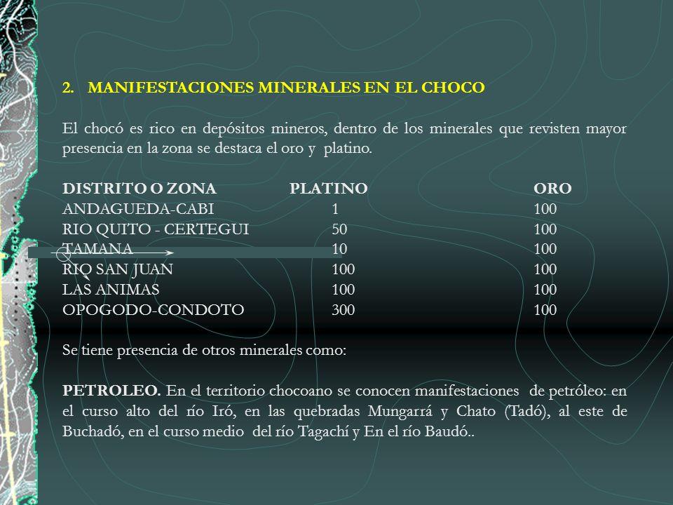MANIFESTACIONES MINERALES EN EL CHOCO