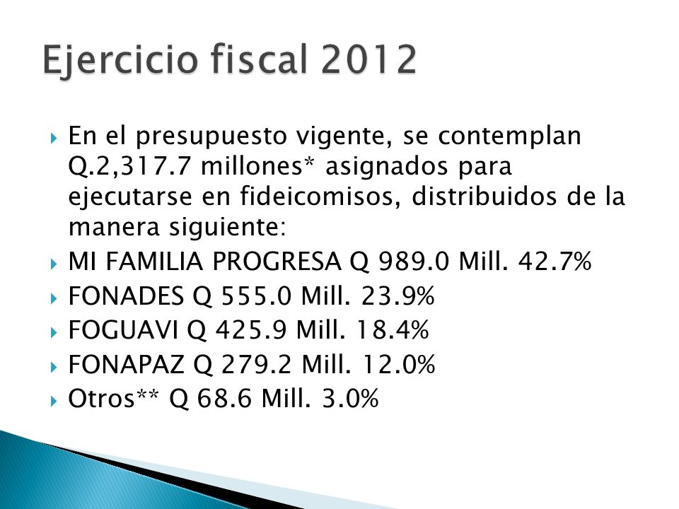 Ejercicio fiscal 2012