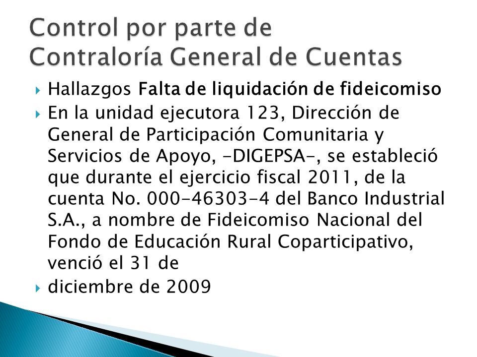 Control por parte de Contraloría General de Cuentas