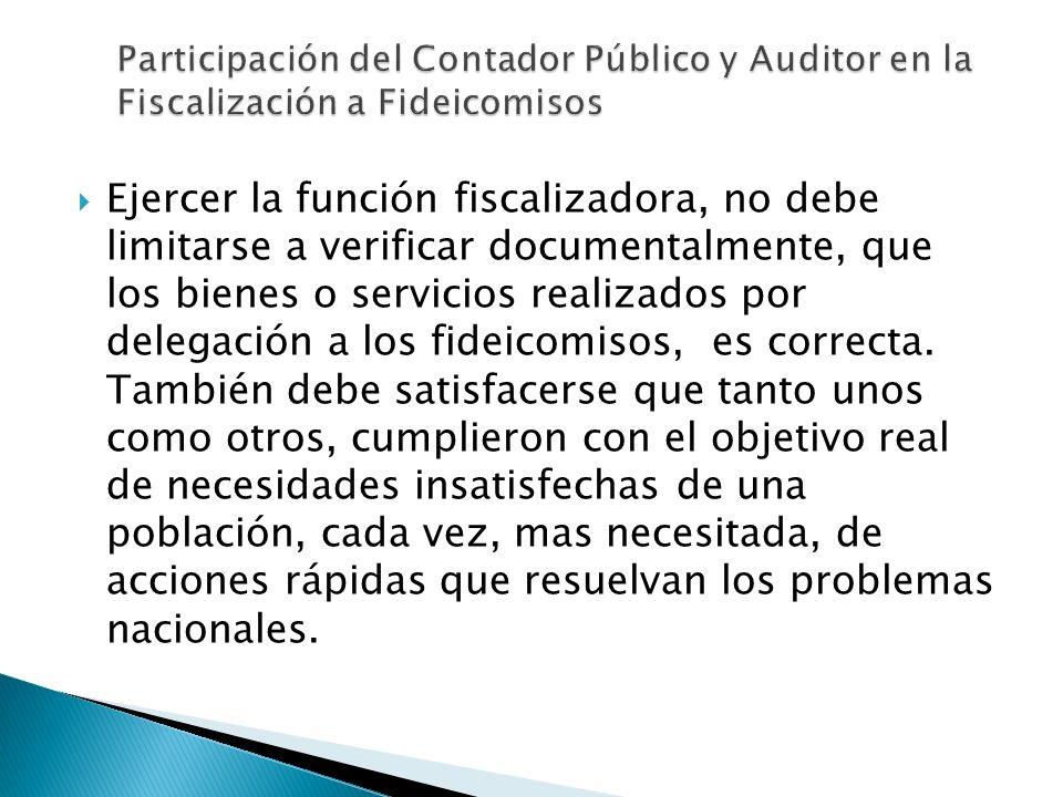 Participación del Contador Público y Auditor en la Fiscalización a Fideicomisos