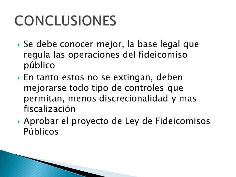 CONCLUSIONES Se debe conocer mejor, la base legal que regula las operaciones del fideicomiso público.