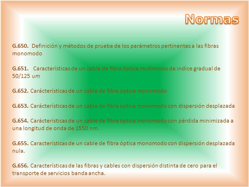 Normas G.650. Definición y métodos de prueba de los parámetros pertinentes a las fibras monomodo.
