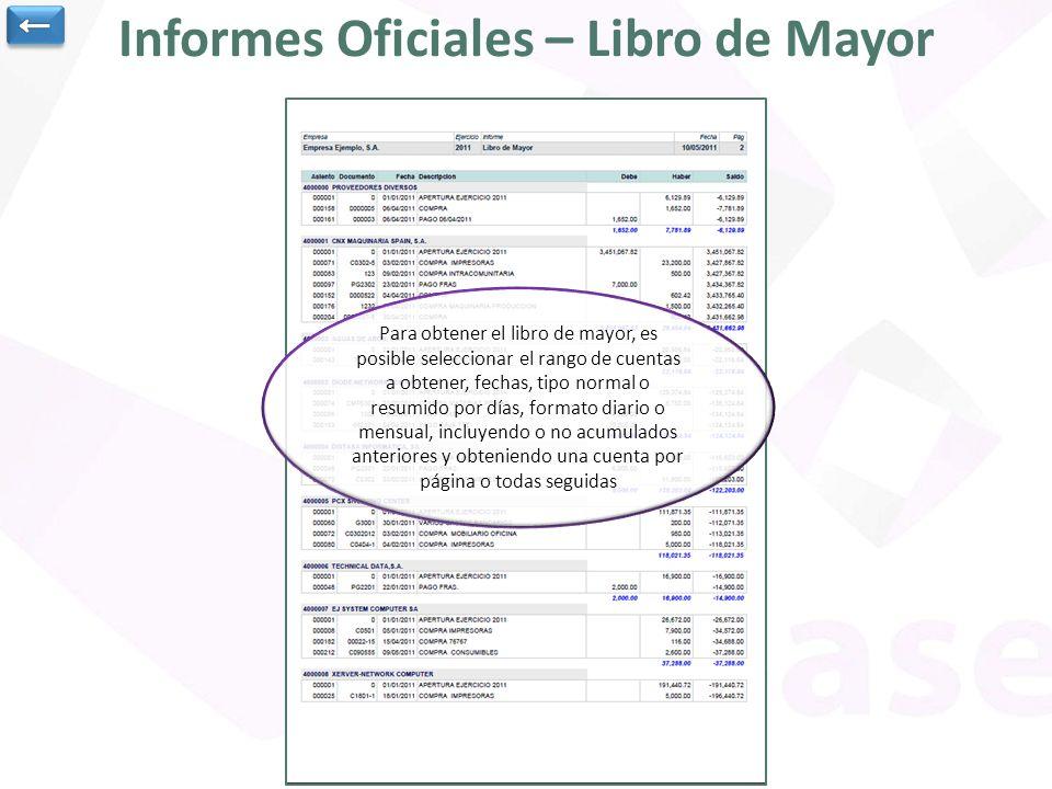 Informes Oficiales – Libro de Mayor