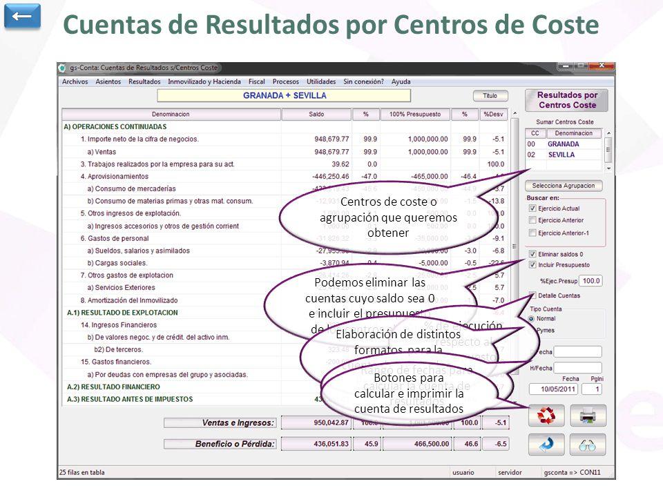 Cuentas de Resultados por Centros de Coste