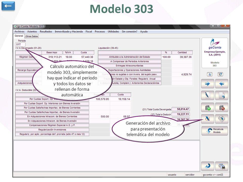 Generación del archivo para presentación telemática del modelo