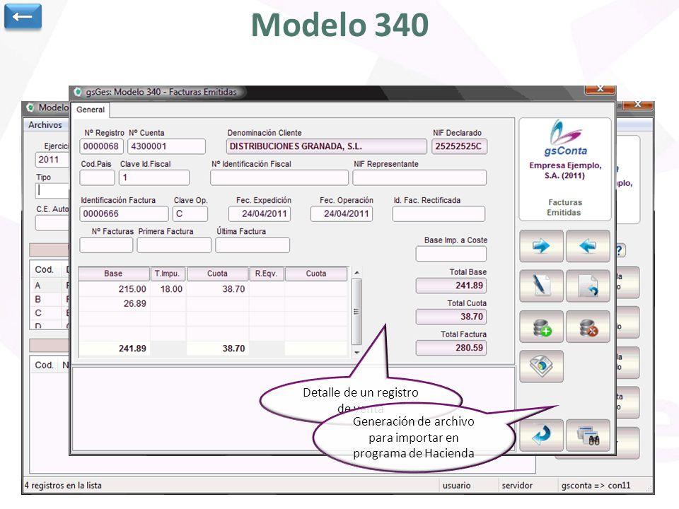 Modelo 340 ← Ejercicio y periodo para cálculo del modelo 340