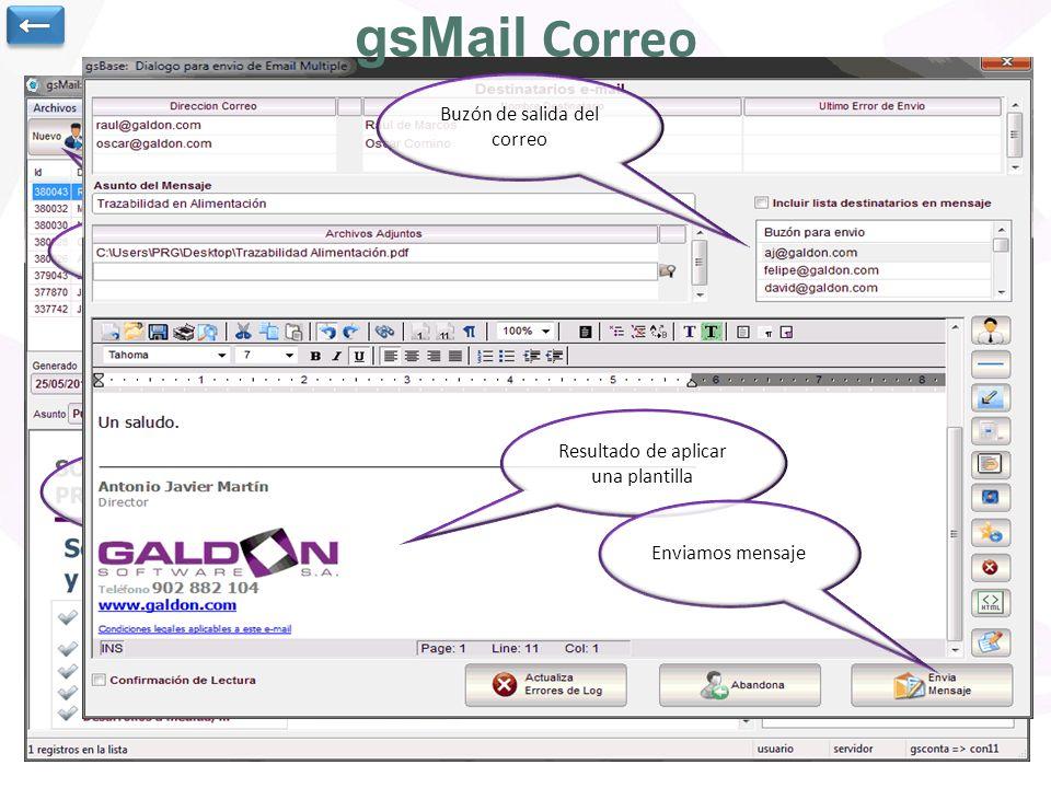 gsMail Correo ← Buzón de salida del correo