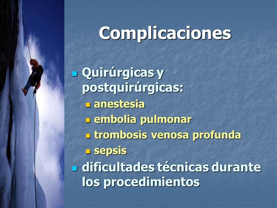 Complicaciones Quirúrgicas y postquirúrgicas: