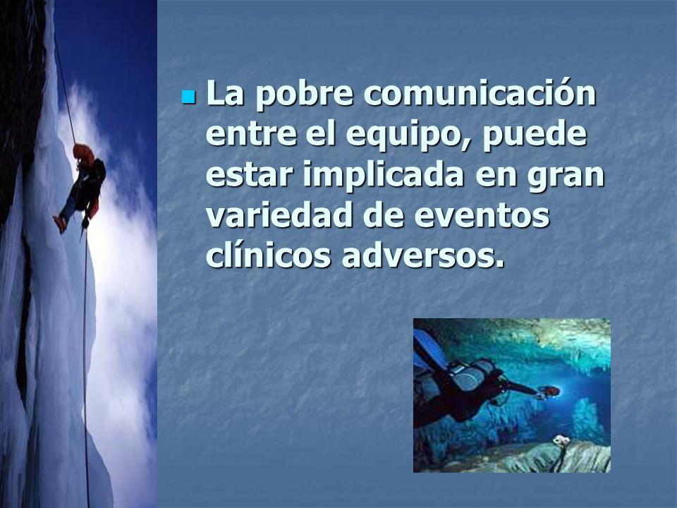 La pobre comunicación entre el equipo, puede estar implicada en gran variedad de eventos clínicos adversos.