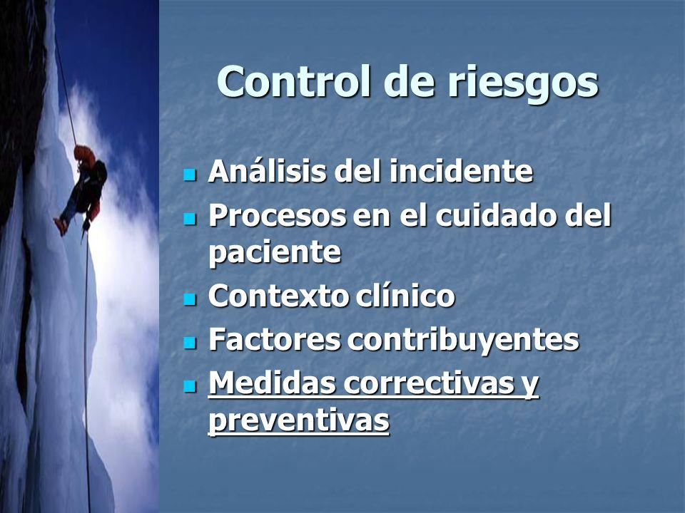 Control de riesgos Análisis del incidente