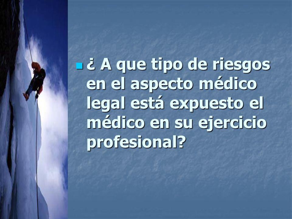 ¿ A que tipo de riesgos en el aspecto médico legal está expuesto el médico en su ejercicio profesional