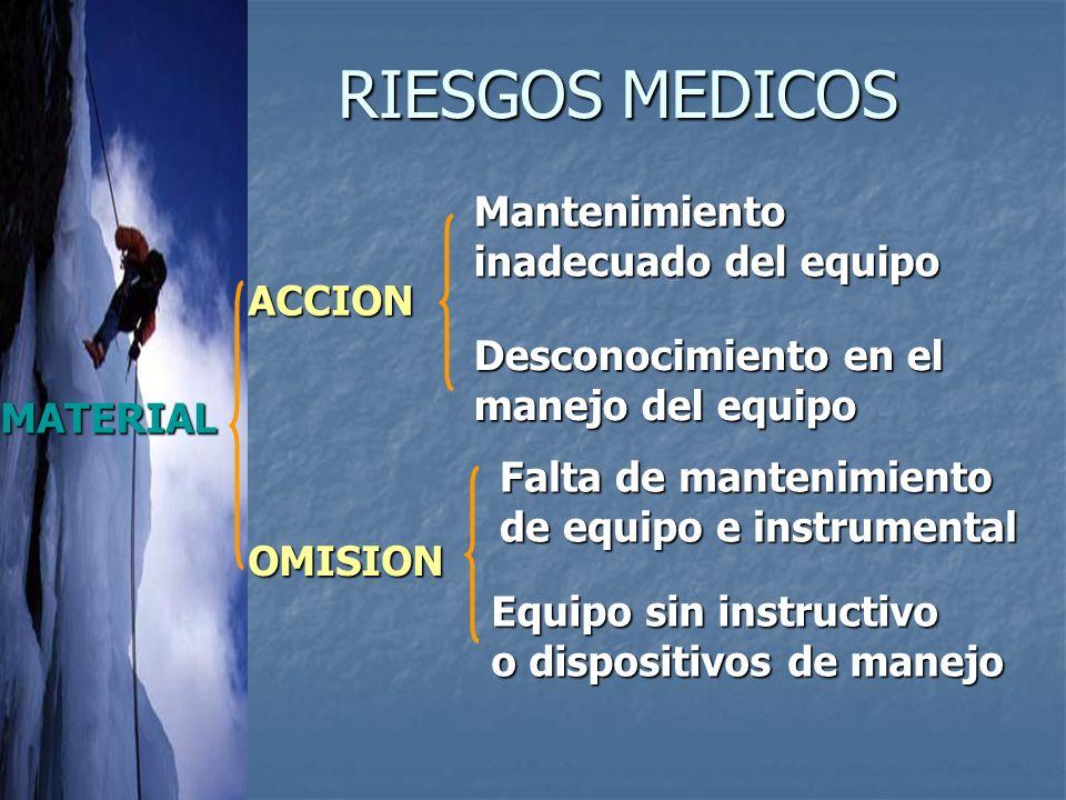 RIESGOS MEDICOS Mantenimiento inadecuado del equipo ACCION