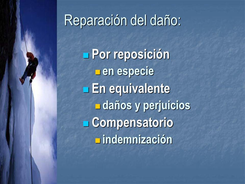 Reparación del daño: Por reposición En equivalente Compensatorio