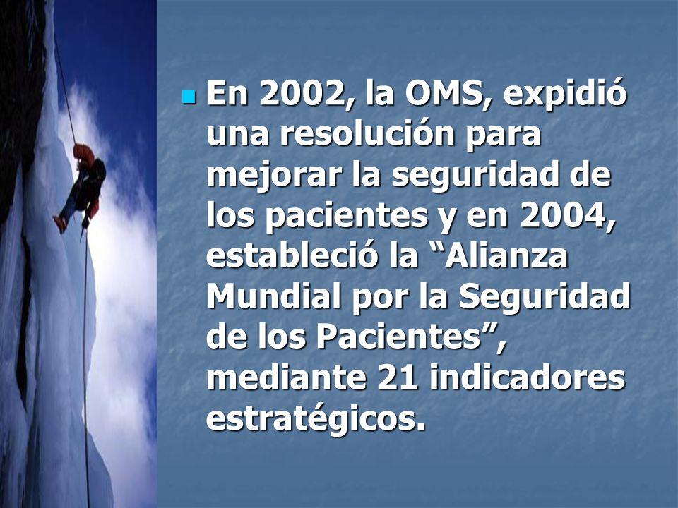 En 2002, la OMS, expidió una resolución para mejorar la seguridad de los pacientes y en 2004, estableció la Alianza Mundial por la Seguridad de los Pacientes , mediante 21 indicadores estratégicos.