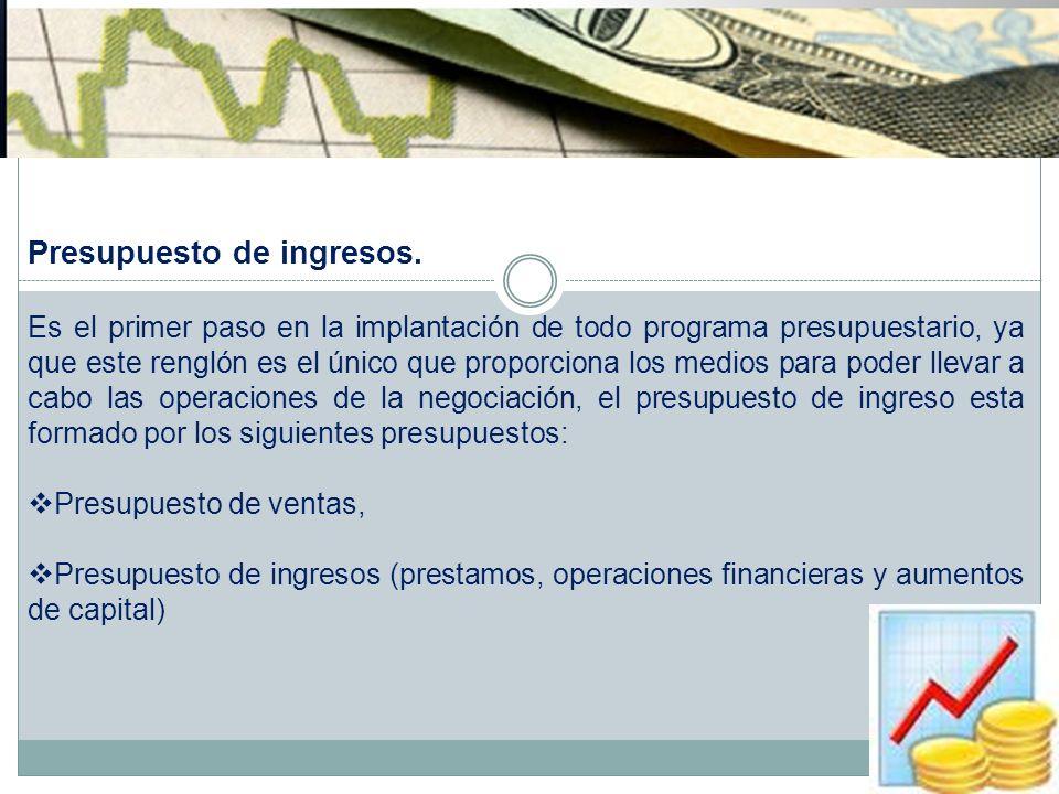 Presupuesto de ingresos.