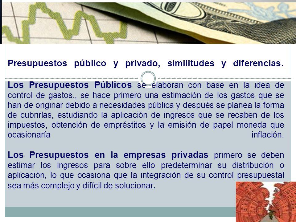 Presupuestos público y privado, similitudes y diferencias