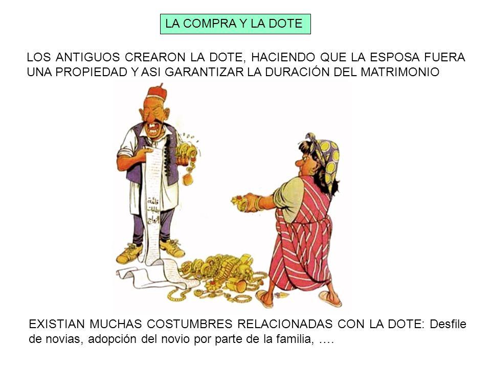 LA COMPRA Y LA DOTE LOS ANTIGUOS CREARON LA DOTE, HACIENDO QUE LA ESPOSA FUERA UNA PROPIEDAD Y ASI GARANTIZAR LA DURACIÓN DEL MATRIMONIO.