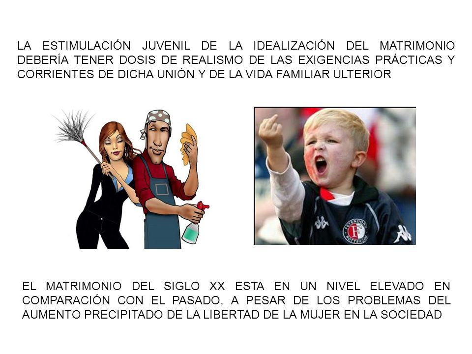 LA ESTIMULACIÓN JUVENIL DE LA IDEALIZACIÓN DEL MATRIMONIO DEBERÍA TENER DOSIS DE REALISMO DE LAS EXIGENCIAS PRÁCTICAS Y CORRIENTES DE DICHA UNIÓN Y DE LA VIDA FAMILIAR ULTERIOR