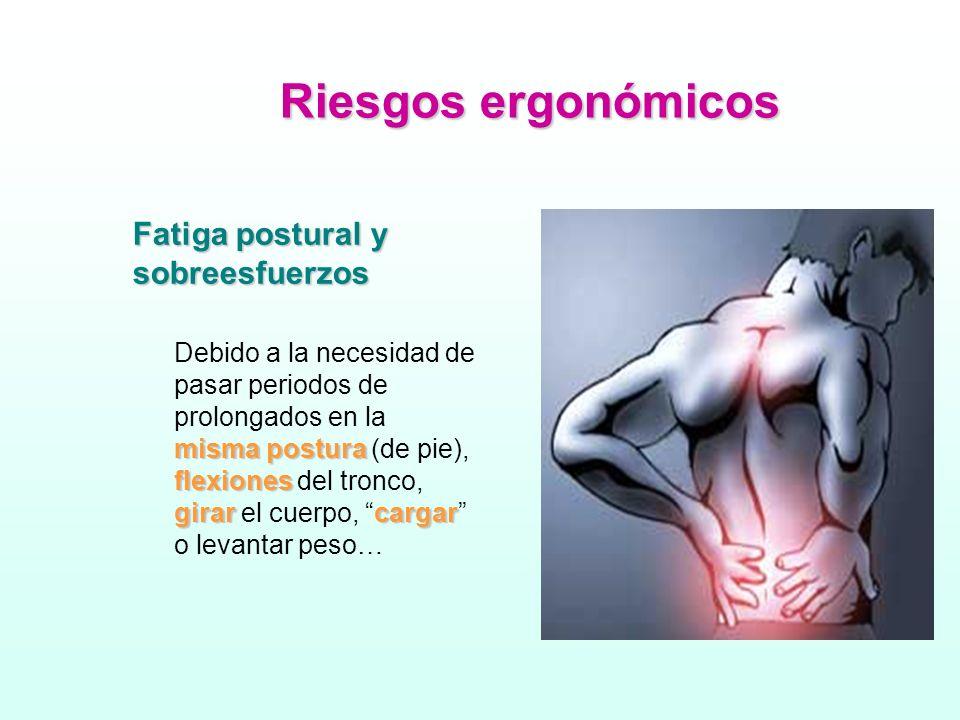Riesgos ergonómicos Fatiga postural y sobreesfuerzos