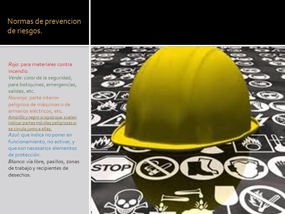 Normas de prevencion de riesgos.