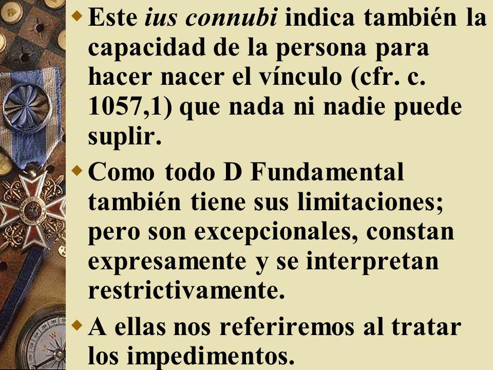 Este ius connubi indica también la capacidad de la persona para hacer nacer el vínculo (cfr. c. 1057,1) que nada ni nadie puede suplir.