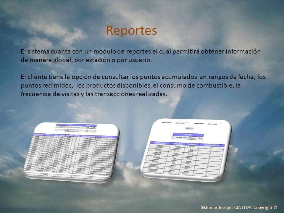 Reportes El sistema cuanta con un modulo de reportes el cual permitirá obtener información de manera global, por estación o por usuario.