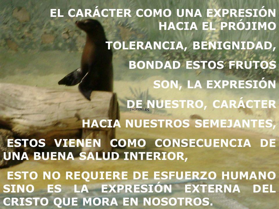TOLERANCIA, BENIGNIDAD, BONDAD ESTOS FRUTOS SON, LA EXPRESIÓN