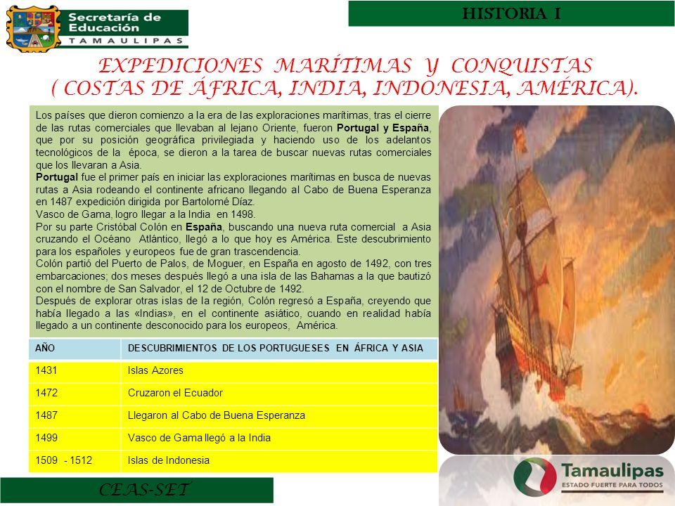 HISTORIA I EXPEDICIONES MARÍTIMAS Y CONQUISTAS ( COSTAS DE ÁFRICA, INDIA, INDONESIA, AMÉRICA).