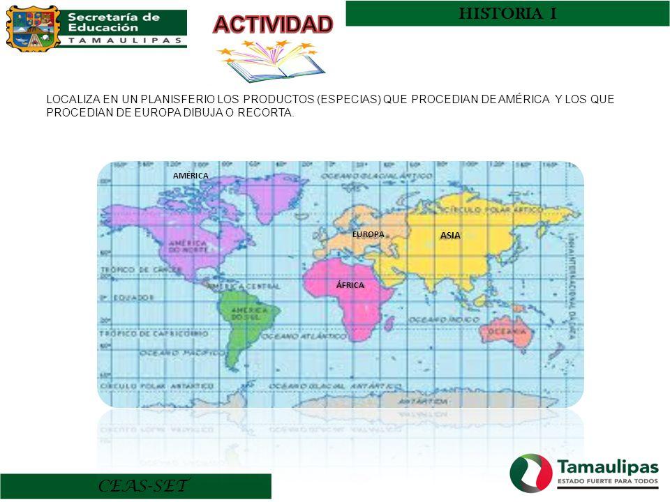HISTORIA I ACTIVIDAD. LOCALIZA EN UN PLANISFERIO LOS PRODUCTOS (ESPECIAS) QUE PROCEDIAN DE AMÉRICA Y LOS QUE PROCEDIAN DE EUROPA DIBUJA O RECORTA.