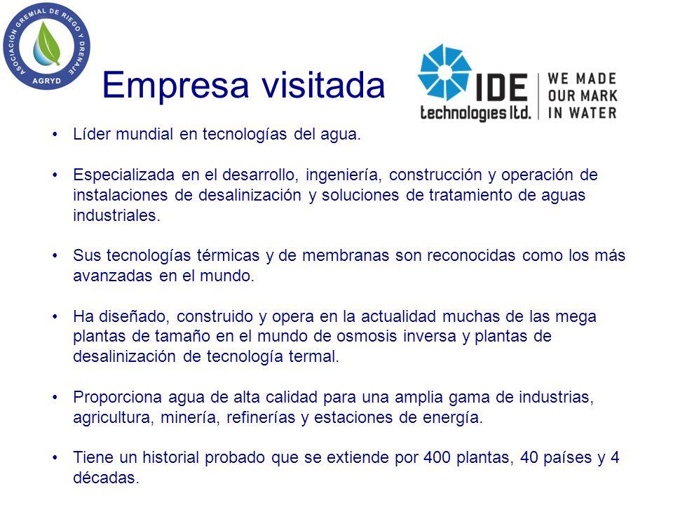 Empresa visitada Líder mundial en tecnologías del agua.