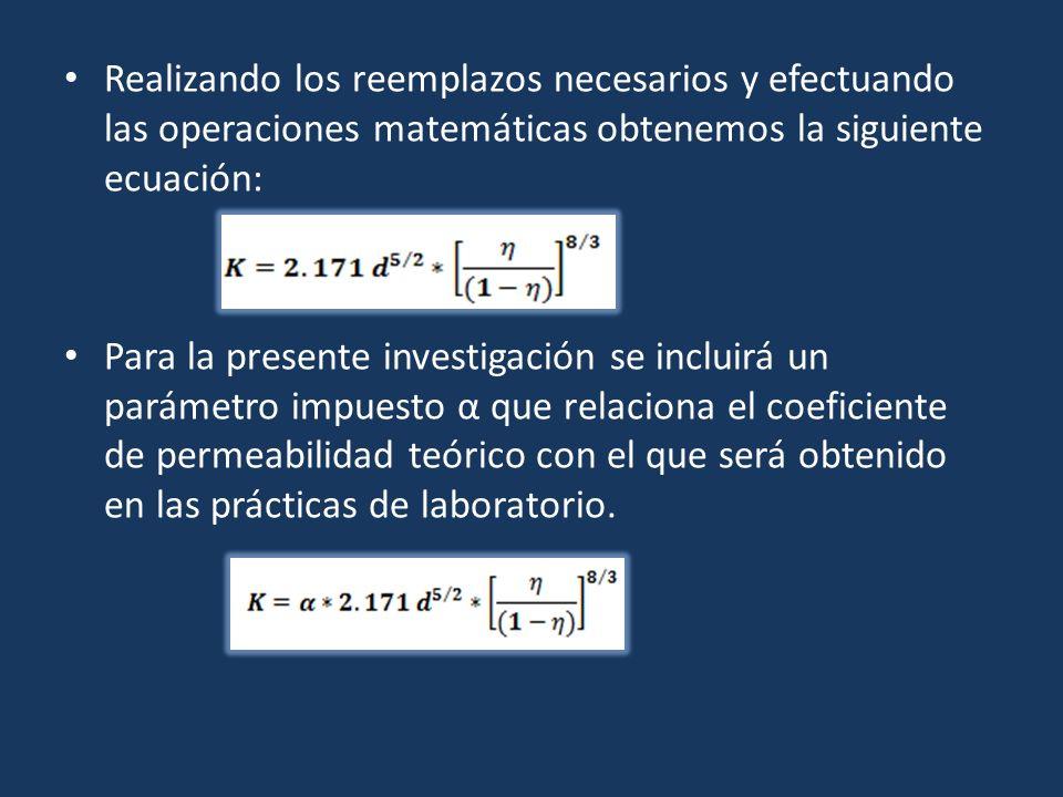 Realizando los reemplazos necesarios y efectuando las operaciones matemáticas obtenemos la siguiente ecuación:
