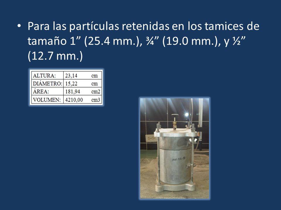 Para las partículas retenidas en los tamices de tamaño 1 (25. 4 mm