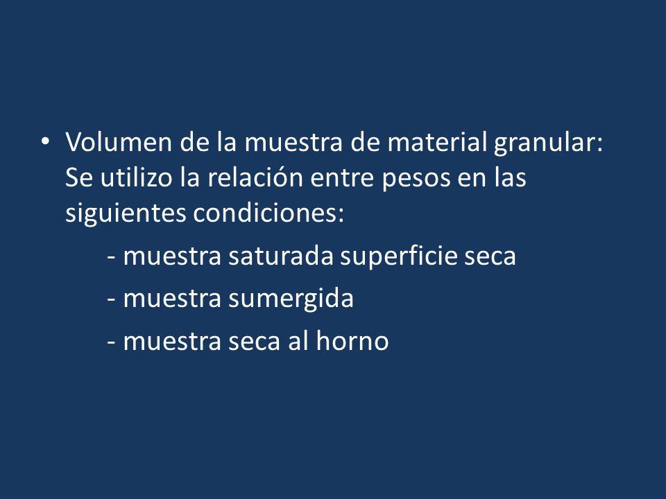 Volumen de la muestra de material granular: Se utilizo la relación entre pesos en las siguientes condiciones: