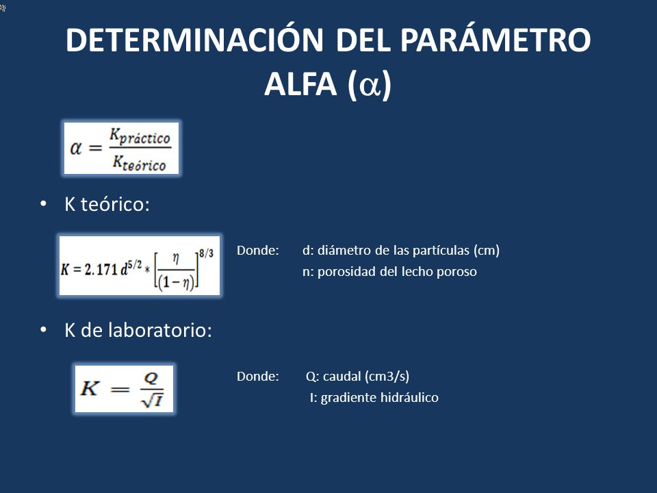 DETERMINACIÓN DEL PARÁMETRO ALFA ()