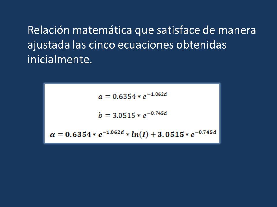 Relación matemática que satisface de manera ajustada las cinco ecuaciones obtenidas inicialmente.